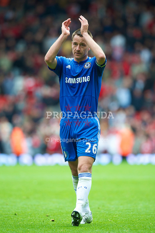 LIVERPOOL, ENGLAND - Sunday, May 2, 2010: Chelsea's captain John Terry celebrates a 2-0 victory over Liverpool in the Premiership match at Anfield. (Photo by David Rawcliffe/Propaganda)