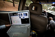 Data on eye tracking, heart rate, and more is gathered on a laptop as retired Army Civil Affairs officer Sue Max works with a Veterans Affairs driving rehab specialist in Palo Alto, California on December 15, 2011 to conquer some of the driving fears she gained while serving in Iraq.