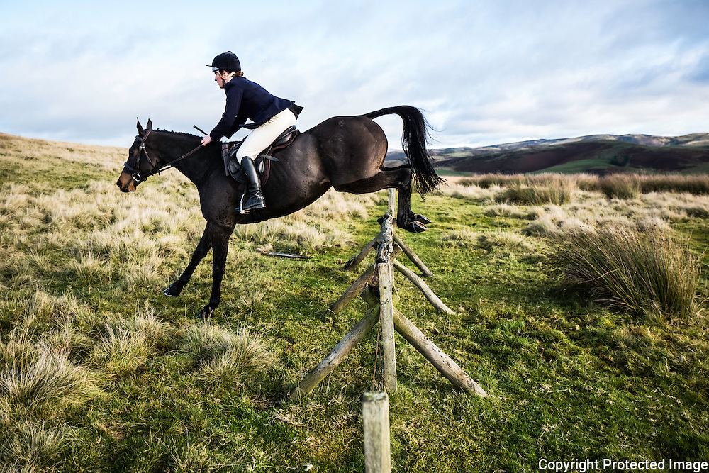 Jumping while hunting with the Jedforest Foxhounds.