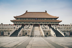 Architecture of the Gate of Supreme Harmony in Forbidden City, Beijing, China, Asia