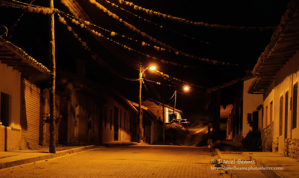 On the street at night in Samaipata, Santa Cruz, Bolivia