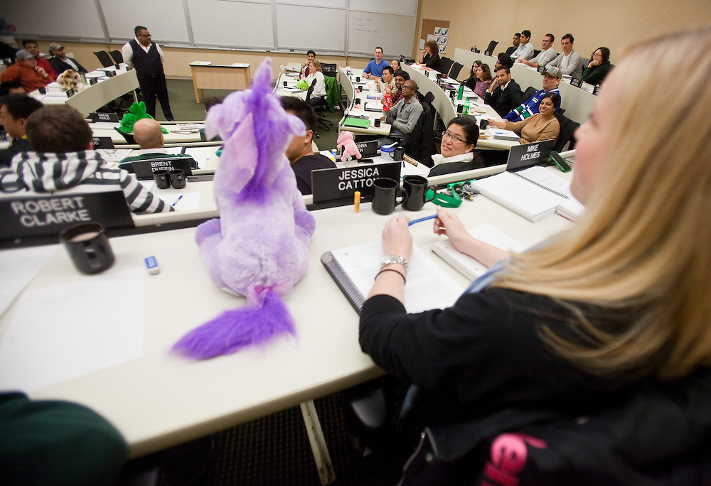 London, Ontario ---11-10-19---  Ariff Kachra, Strategy Professor at the Richard Ivey School of Business in London, Ontario uses innovative teaching methods like the use of stuffed animals to illustrate points in his class October 19, 2011.<br /> GEOFF ROBINS The Globe and Mail