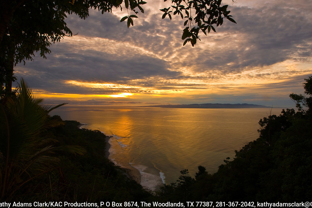 sunrise over the Pacific Ocean, Osa Peninsula, southern Costa Rica on the Pacific coast.