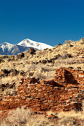 Pueblo ruins at Wupatki National Monument. In the distance is Humphreys Peak. Near Flagstaff, Arizona.