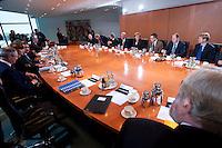 09 JAN 2009, BERLIN/GERMANY:<br /> Jens Weidmann, Abteilungsleiter Wirtschaft im Bundeskanzlkeramt, Hartmut Schauert, CDU, Parl. StS Bundeswirtschaftsministerium, Michael Glos, CSU, Bundeswirtschaftsminister, Angela Merkel, CDU, Bundeskanzlerin, Thomas de Maizi&egrave;re, CDU, Kanzleramtsminister, Peer Steinbrueck, SPD, Bundesfinanzminister, Ulrich Wilhelm, Regierungssprecher, (v.L.n.R., Mitte rechte Tischseite) vor Beginn eines Gespraechs der Bundeskanzlerin mit Vertretern der mittelstaendischen Wirtschaft, Kleiner Kabinettsaal, Bundeskanzleramt<br /> IMAGE: 20090109-01-004<br /> KEYWORDS: Peer Steinbr&uuml;ck