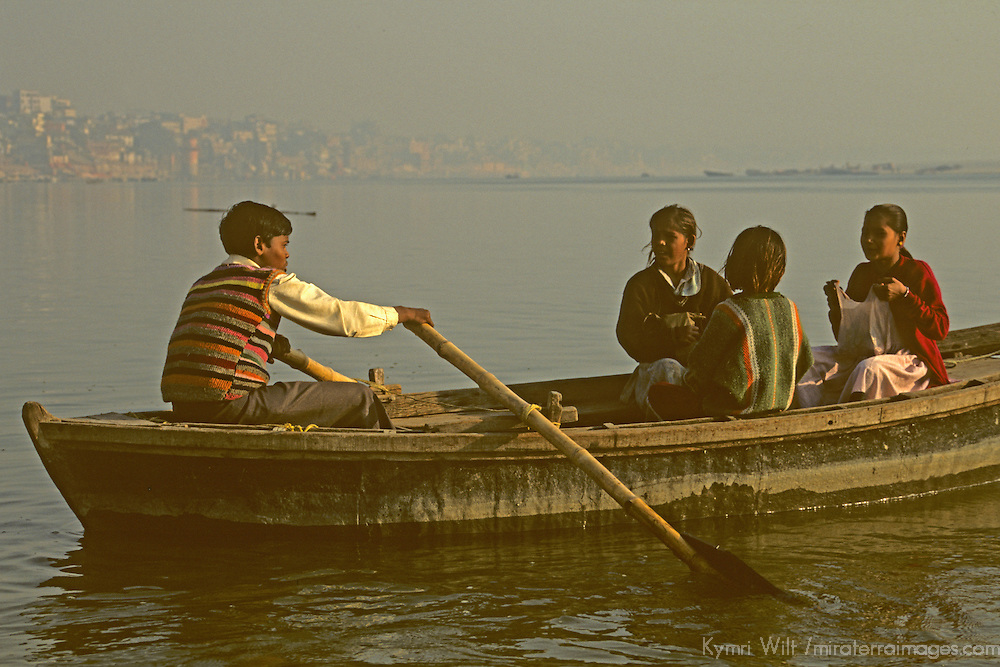 Asia, India, Varanasi. Rowing on the Ganges.