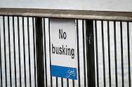 No Busking Sign, River Thames, London, Britain - Jun 2014.