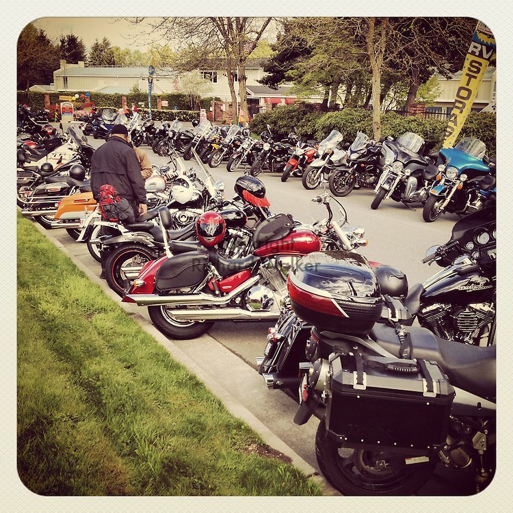 2014 April 27 - Motorcycles parked before start of Tulip Ride in Redmond, WA, USA. Taken/edited with Instagram App for iPhone. By Richard Walker