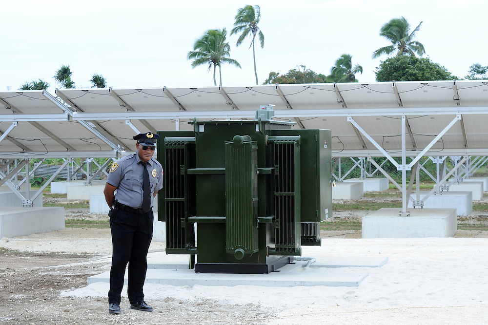 Solar panels at the Maama Mia Solar Power Facility, Pacific Mission 2012, Nuku'alofa, Tonga, Tuesday, July 24, 2012. Credit:SNPA / Ross Setford