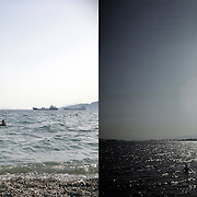 Nadeemabbas from Pakistan likes to swim here. He says that the sea in Pakistan is much dirtier. Elefsina, Saronic Gulf, West Attica. Swimmers at Fonias bay. Elefsina, Saronic Gulf, West Attica.