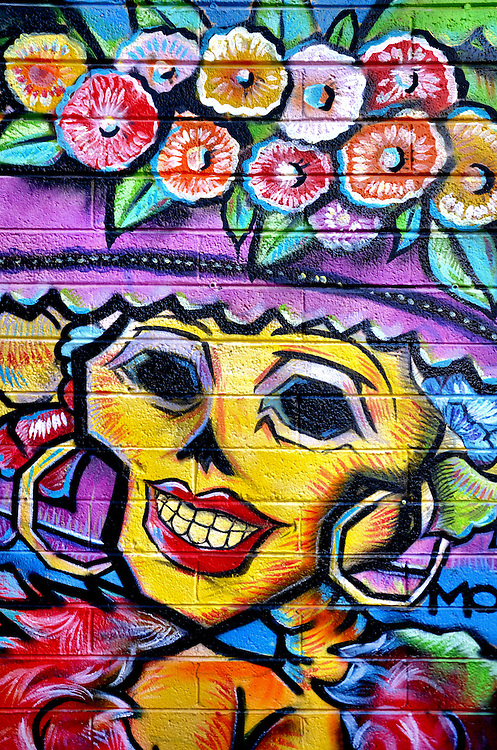 Day of dead colorful smiling woman skull wearing bonnet for Day of the dead mural