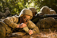 Marine Corps recruit John McMahon eats lunch during training at Parris Island, S.C., on Nov. 24, 2007. (Photo by Stacy L. Pearsall)