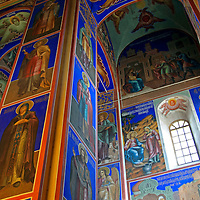Europe, Russia, Suzdal. Interior of the Church of the Nativity, Suzdal, freshly restored paint.
