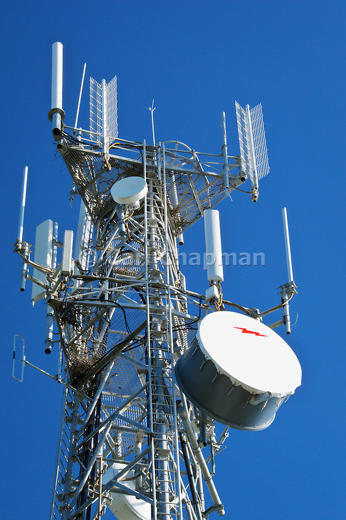 Cellular, microwave and communications antenna array for the mobile telephone system on a tower .