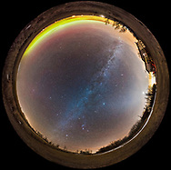 A 360&deg; fish-eye panorama of the winter sky in mid-February, shot from home in southern Alberta. Orion is to the south at bottom, with the winter Milky Way arcing across the sky from southeast, at bottom, to northwest, at top. A faint glow of Zodiacal Light extends across the sky from west (right) to east (left). Urban sky glow lights the sky to the west. To the north at top, an auroral arc extends along the horizon. The Big Dipper is at upper left in the northeast. Polaris is at top centre. Venus is bright and setting low in the west at right. Leo is rising in the east at left. <br /> <br /> This is a stitch of 6 segments, each shot with the Rokinon 12mm full-frame fish-eye lens at f/2.8, for 30 seconds each at ISO 6400 with the Nikon D750. Stitched with PTGui.