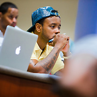 MIAMI, FL - June 24, 2015 -- NFL player Santana Moss participates in a Legal & Ethical Implications of Executive Decision Making class taught by Professor Patricia Abril at the University of Miami as part of their Miami Executive MBA for Artists & Athletes program on Wednesday, June 24, 2015.  (PHOTO / CHIP LITHERLAND)