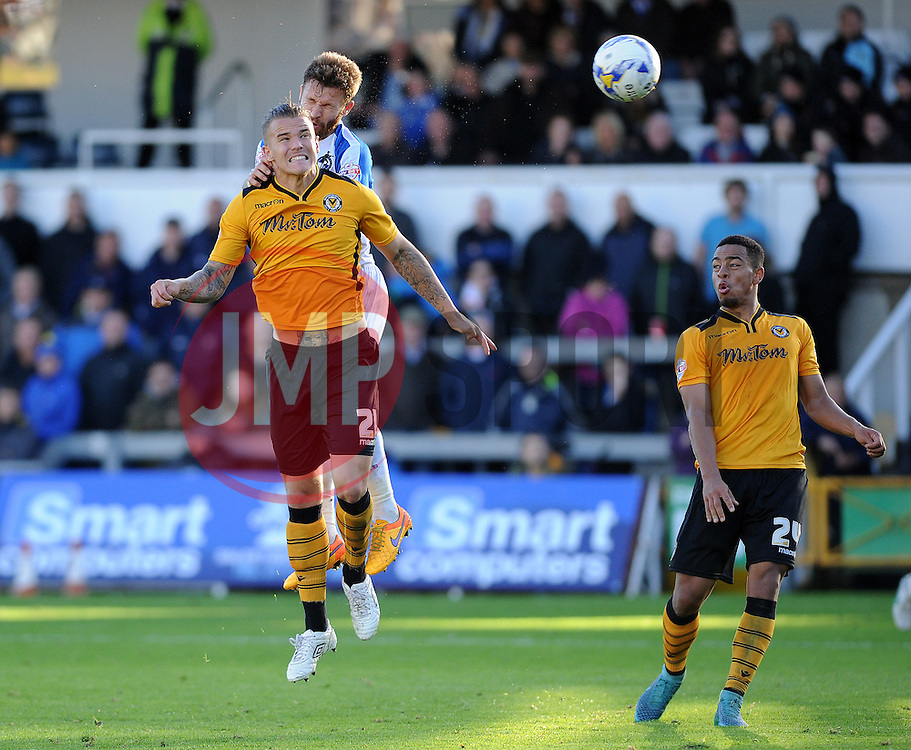 Matty Taylor of Bristol Rovers wins a header from Matt Partridge of Newport County - Mandatory byline: Neil Brookman/JMP - 07966 386802 - 24/10/2015 - FOOTBALL - Memorial Stadium - Bristol, England - Bristol Rovers v Newport County AFC - Sky Bet League Two