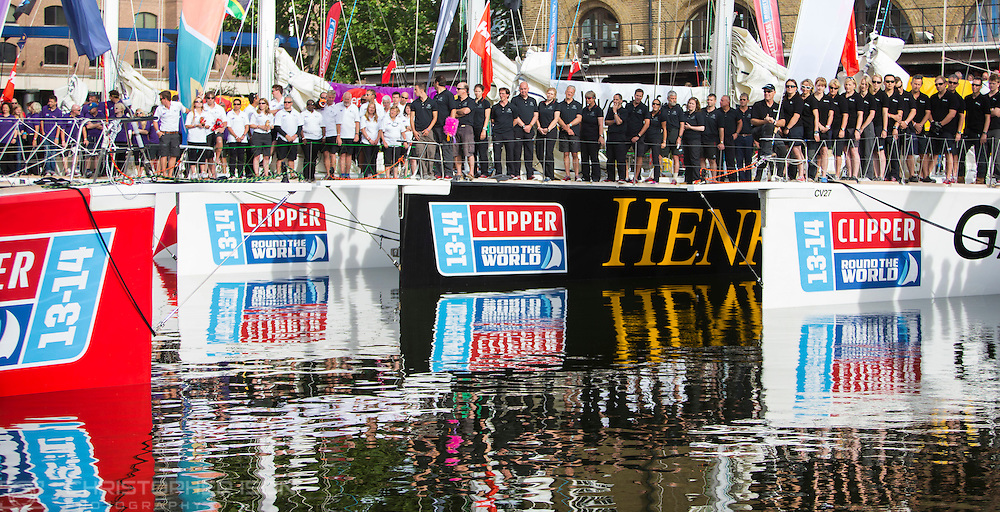 Crew members of the Clipper fleet attend a blessing of the boats at St Katharine's Dock in London before heading off for the first leg of the Clipper Round the World Race to Rio de Janeiro.