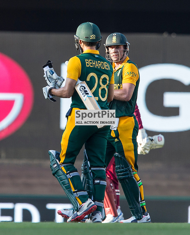 ICC Cricket World Cup 2015 Tournament Match, South Africa v West Indies, Sydney Cricket Ground; 27th February 2015<br /> South Africa&rsquo;s Farhaan Behardien and South Africa&rsquo;s AB De Villiers walk off not out after the end of 50 overs