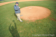 Clyton Gillentine of the grounds crew works on the field at Oxford-University Stadium in Oxford, Miss. on Tuesday, February 23, 2010.