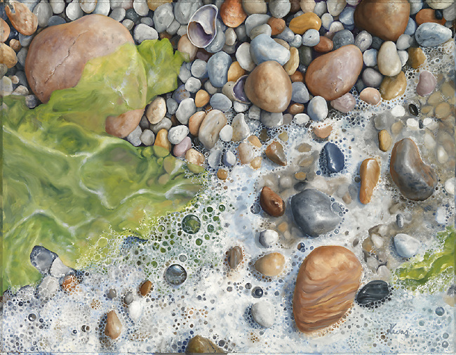Tiny white pebbles peek out from sea foam and seaweed.  Vibrant green sea lettuce perfectly complements the warm white pebbles and puts you there on a quiet beach.<br />
