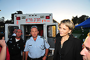 Anastassia Michaeli member of Knesset, visits the are Huge forest fire rages on the Carmel Mountain South of Haifa Israel. International efforts to contain the fire have been going on for the last 3 days. December 4th 2010.