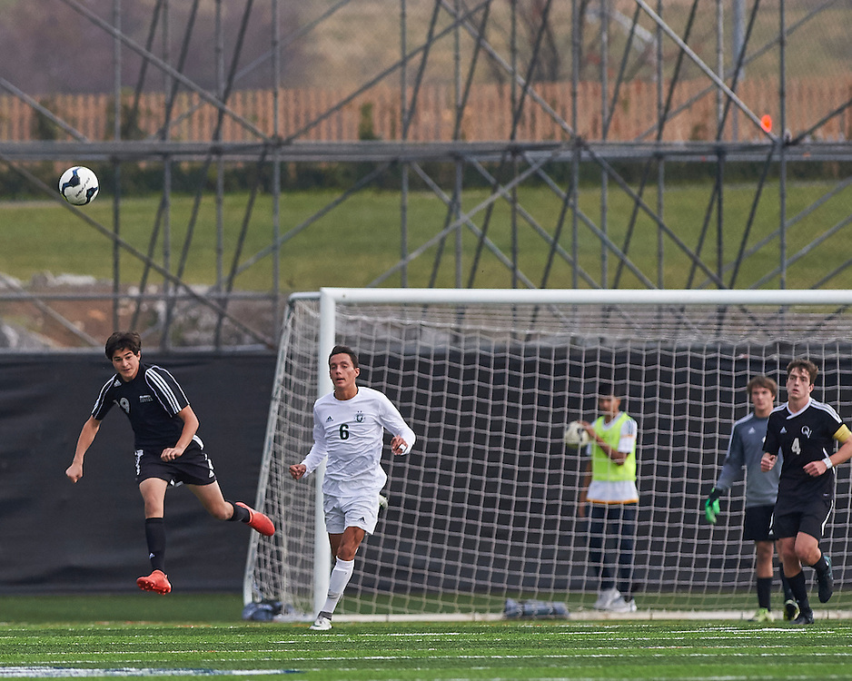 Quaker Valley High School vs Lewisburg High School in the final game of the 2016 AA Pennsylvania Interscholastic Athletic Association (PIAA) Boys Soccer Championships at Hershey Park Stadium in Hershey, PA, on November 19, 2016.  Lewisburg scored with 3 minutes left in the game.  Quaker Valley lost the match 1-0.  Photo: Shelley Lipton