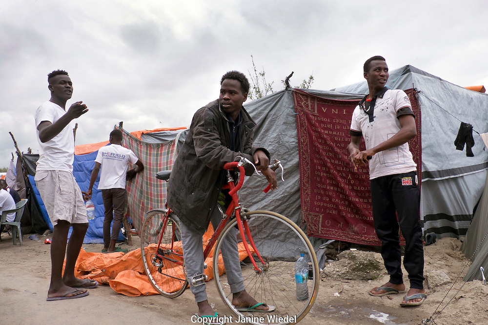 Young Sudanese men from Darfour in The Calais Jungle Refugee and Migrant Camp in France