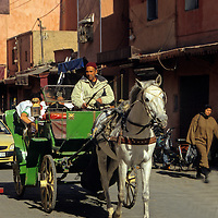 North Africa, Morocco, Marrakesh. Marrakesh street with horse and carriage.