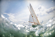 The 1929 built yawl, Dorade, from the USA pictured on the Solent at the start of the Rolex Fastnet Race on the Isle of Wight. The Olin Stephens designed yacht won the race in 1931.<br /> Picture date: Sunday August 16, 2015.<br /> Photograph by Christopher Ison &copy;<br /> 07544044177<br /> chris@christopherison.com<br /> www.christopherison.com