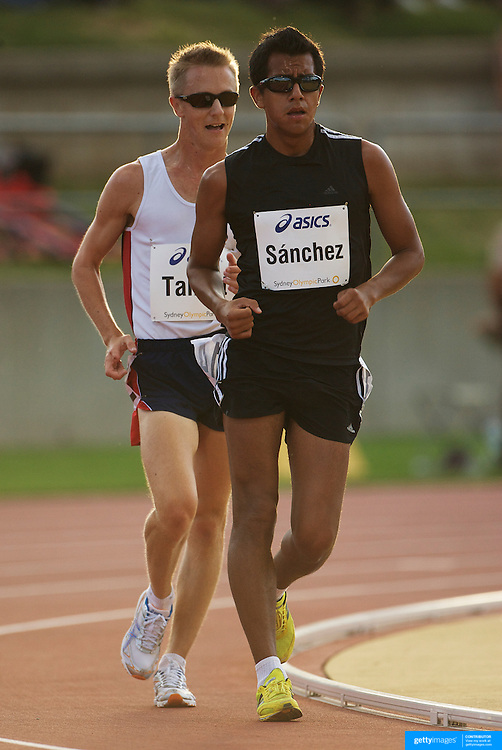 Eder Sanchez from Mexico winning the men's 5000m Race Walk from Jared Tallent of Australia at the Sydney Track Classic 2009 held at Sydney Olympic Park Athletics Centre, Sydney, Australia on February 28, 2009. Photo Tim Clayton