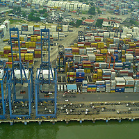 Aerial views of Port of Balboa, operated by Panama Ports Company (PPC) - the Panama-based subsidiary of the HPH Group.
