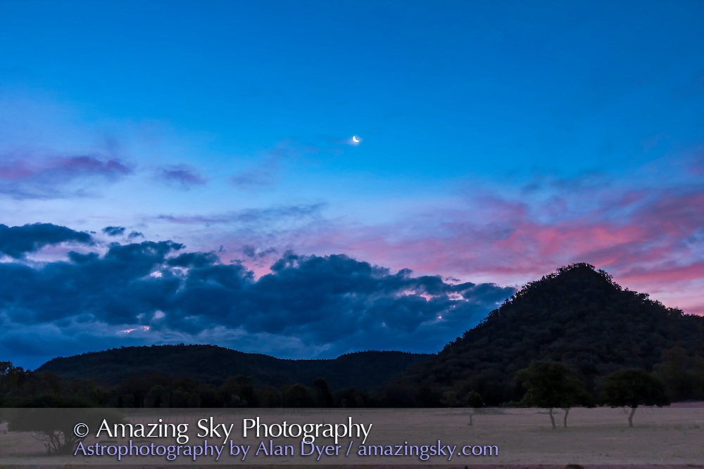 The waxing crescent Moon in the western evening sky in deep twilight, from Timor Cottage near Coonabarabran, NSW, Australia. Taken December 16, 2012.