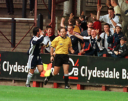 Falkirk v Clydebank, during 1999, Colin McDonald celebrates after scoring his second goal..Pic : Michael Schofield.