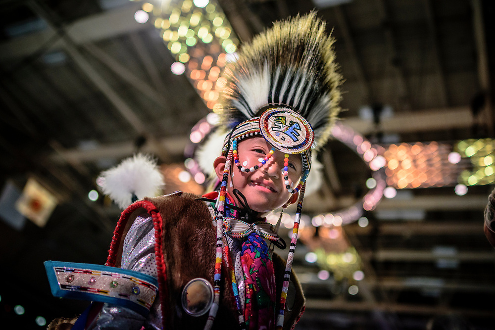 rer042917a/metro/April 29, 2017/Albuquerque Journal<br /> Tristan Benally(Cq),9, of Naschitti, New Mexico prepares to enter the dance floor for his competition Saturday afternoon at the Gathering of Nations held for the first time at the Expo New Mexico. <br /> Roberto E. Rosales/Albuquerque Journal photo by Roberto E. Rosales