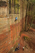 Ben Bransby almost onsighting Gathering Sun, E7 6b, Nesscliffe