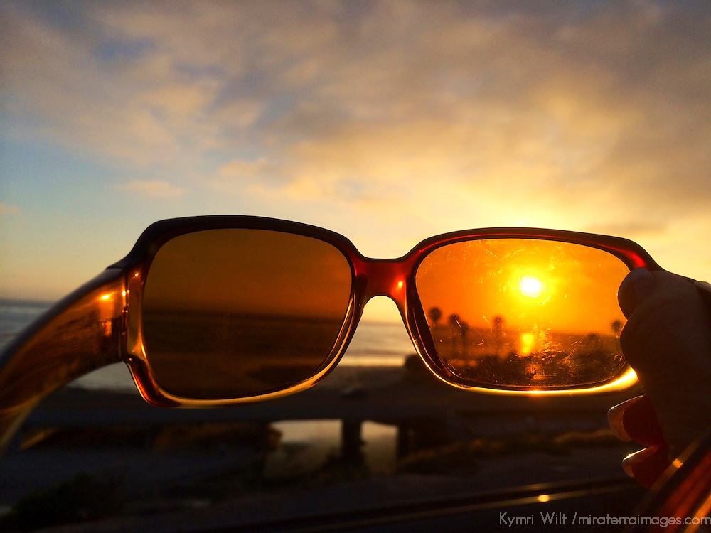 USA, California, Cardiff by the Sea. Sunset through Sunglasses.
