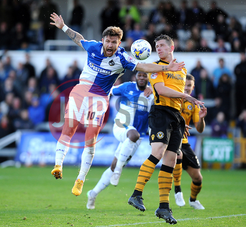 Matty Taylor of Bristol Rovers claims a foul by Scot Bennett of Newport County - Mandatory byline: Neil Brookman/JMP - 07966 386802 - 24/10/2015 - FOOTBALL - Memorial Stadium - Bristol, England - Bristol Rovers v Newport County AFC - Sky Bet League Two
