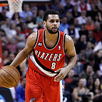 08 March 2011: Portland Trail Blazers point guard Patrick Mills (8) brings the ball upcourt during the Portland Trail Blazers 105-96 victory over the Miami Heat at the AmericanAirlines Arena, Miami, Florida, USA.