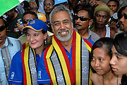 CNRT Party leader and Parliamentary candidate for Prime Minister of Timor-Leste Xanana Gusmao with wife, Kirsty Sword-Gusmao at a CNRT Rally at Dili Stadium, 26/06/07