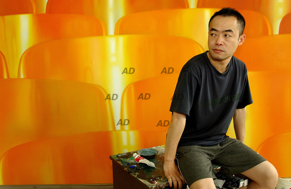 """Chen Wenbo in his sudio at """"798"""" gallery."""
