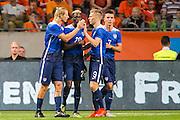 AMSTERDAM - Nederland - USA , Amsterdam ArenA , Voetbal , oefeninterland , 05-06-2015 , Verenigde staten speler Gyasi Zardes (2e l) maakt de gelijkmaker en krijgt felicitaties van zijn ploeggenoten