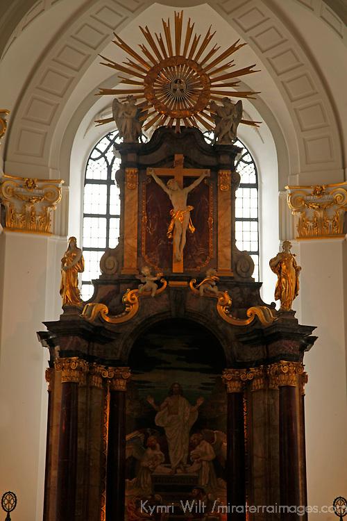 Europe, Germany, Hamburg. St. Michael's Church altar.