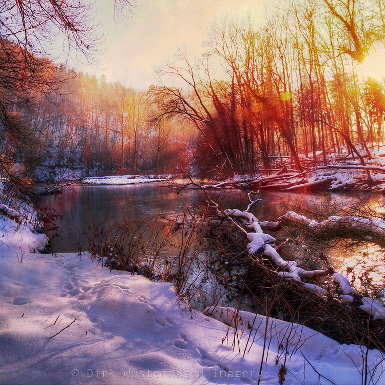 Sunrise on river Wupper on a cold winter morning. Textured photo.<br />