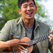 Ukelele master Jake Shimabukuro performing at the Old Settler's Bluegrass Festival, Austin, Texas, April 18, 2015.