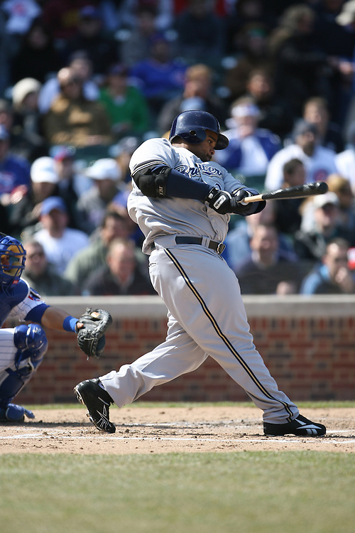 CHICAGO - APRIL 2:  Prince Fielder #28 of the Milwaukee Brewers bats during the game against the Chicago Cubs at Wrigley Field in Chicago, Illinois on April 2, 2008.  The Brewers defeated the Cubs 8-2.  (Photo by Ron Vesely)