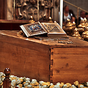 The casket of Blessed John Paul the second in front of the Main Altar at Saint Peters Basillica in Vatican City as tens of thousands the Faithful pass before it on the ocassion of the Beatification