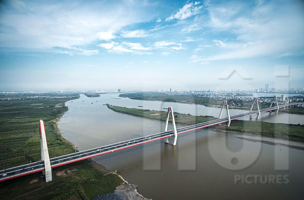 Aerial view of Nhat Tan bridge in Hanoi, Vietnam, Southeast Asia