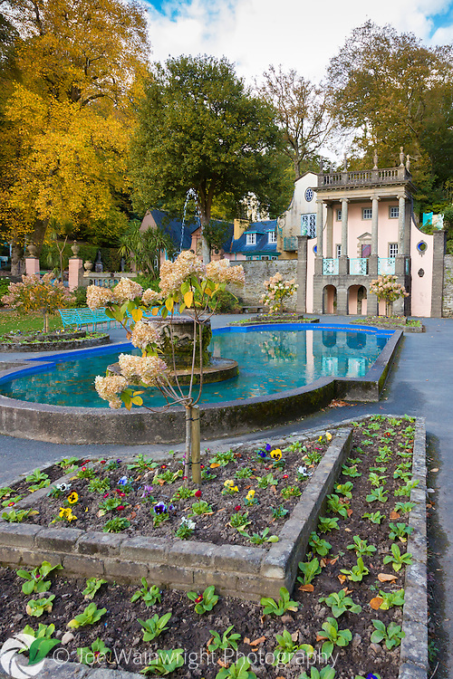 Autumn tones surround the Central Piazza at Portmeirion, North Wales, while spring bedding awaits the warmer months of the following spring