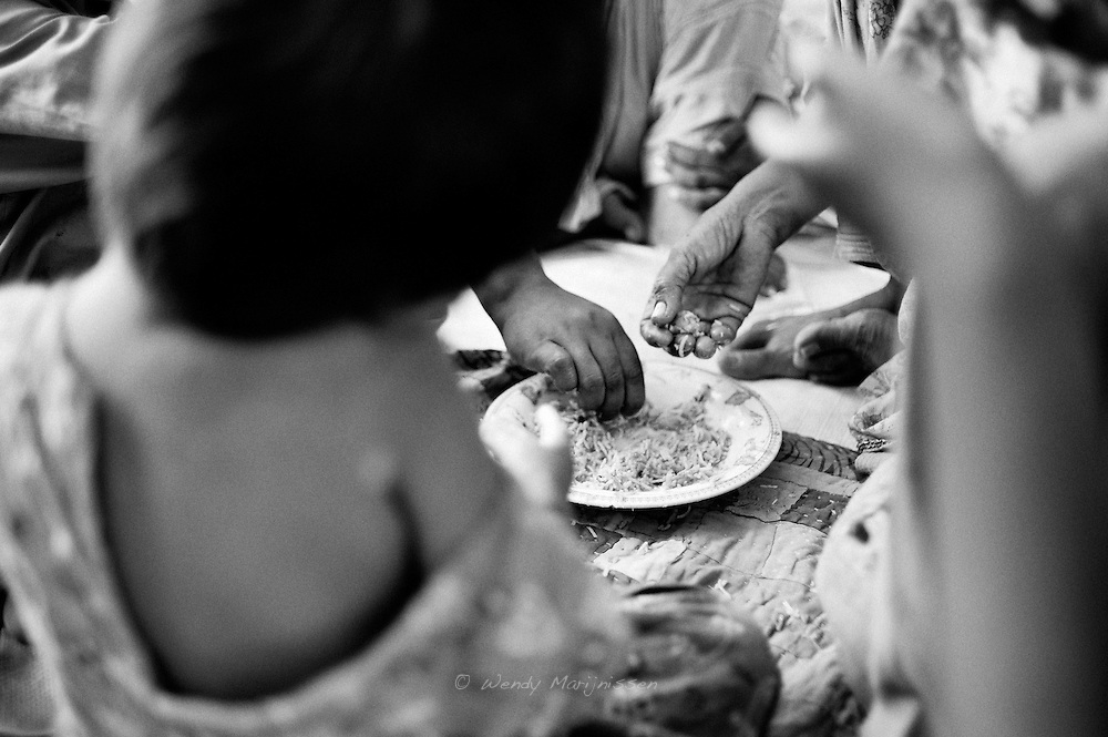 Most families eat food with their hands. Personal hygiene is often a problem, especially in the camps. Washing hands before and after meals is often forgotten or with lack of water not possible. Karachi, Pakistan, 2010